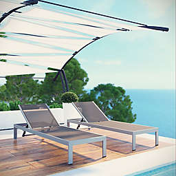 Modway Shore Outdoor Mesh Chaise in SIlver/Grey (Set of 2)