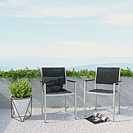 Modway Shore Outdoor Mesh Arm Chair in Black/Silver (Set of 2)
