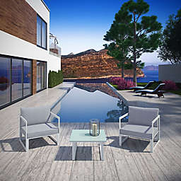 Modway Fortuna 3-Piece Patio Sectional Set in White/Grey