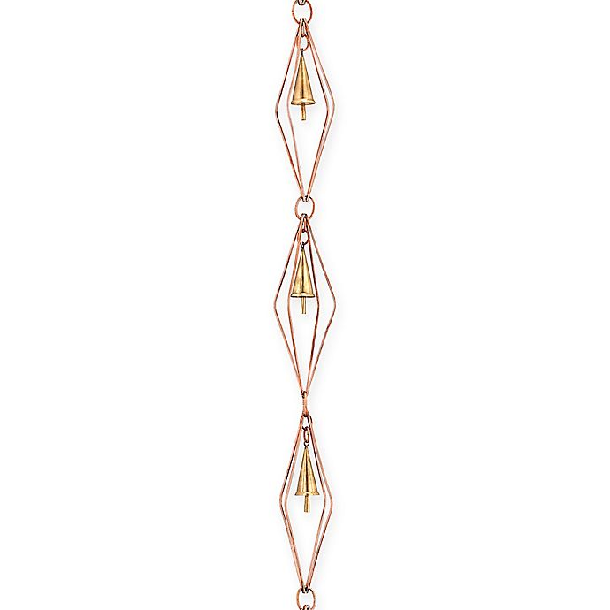 Alternate image 1 for Good Directions Diamond Rain Chain with Bells in Pure Copper