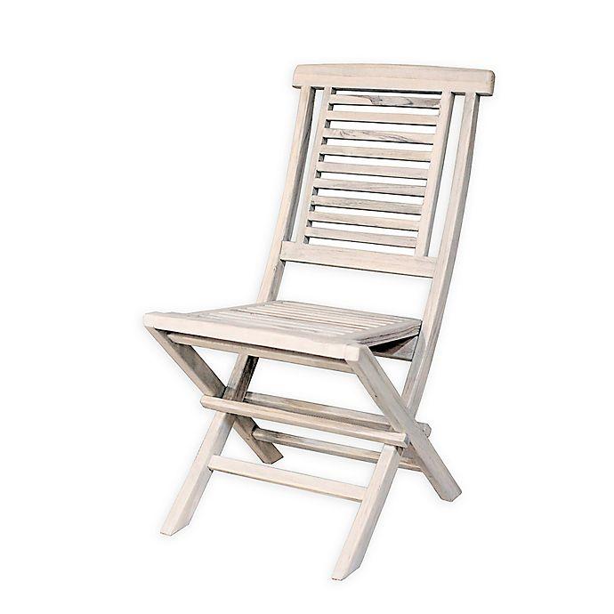 Coastal Vogue Teak Folding Chair In Off White Bed Bath