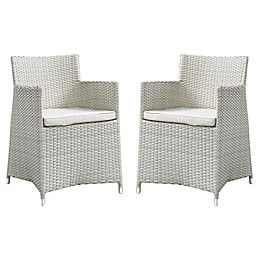 Modway Junction Dining Outdoor Patio Arm Chair in Grey/White (Set of 2)