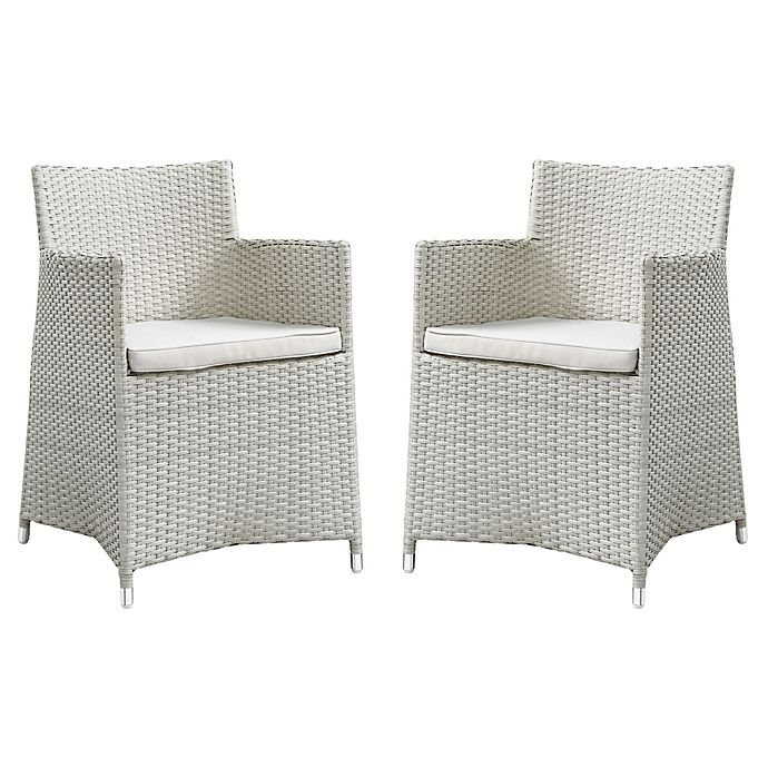 Alternate image 1 for Modway Junction Dining Outdoor Patio Arm Chair in Grey/White (Set of 2)