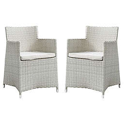 Modway Junction Dining Outdoor Patio Arm Chairs in Grey/White (Set of 2)