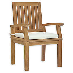 Modway Marina All-Weather Teak Dining Chair in Natural/White