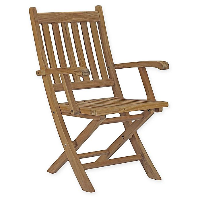 Outstanding Modway Marina Outdoor Patio Folding Chair In Teak Bed Bath Ncnpc Chair Design For Home Ncnpcorg