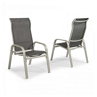 Home Styles South Beach Sling Dining Chairs in Grey (Set of 2)
