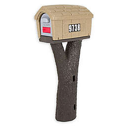 Simplay3 Rustic Home Mailbox on Tree Post in Sandstone/Espresso