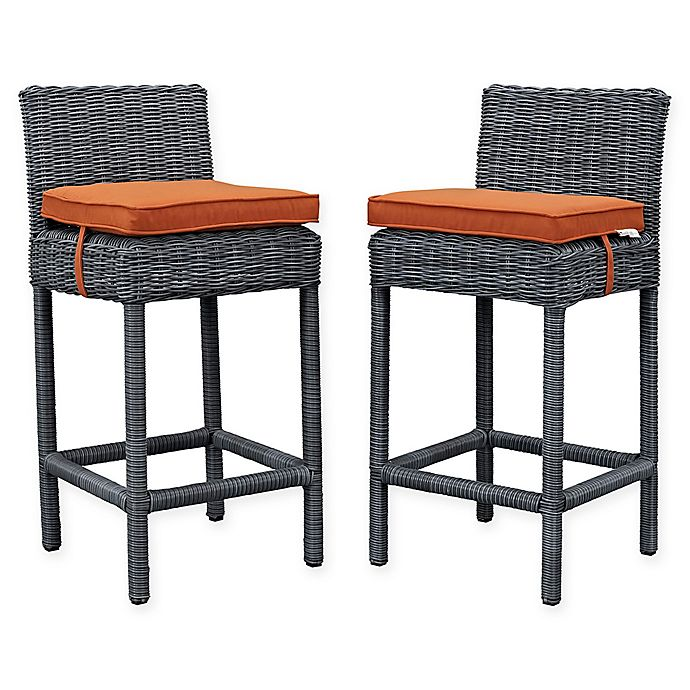 Alternate image 1 for Modway Summon Outdoor Wicker Bar Stools in Sunbrella® Canvas in Tuscan (Set of 2)