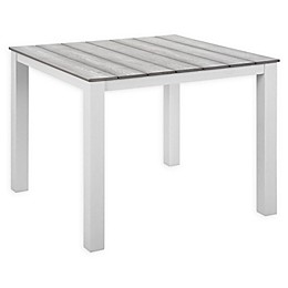 Modway Maine 40-Inch Patio Dining Table in White/Light Grey