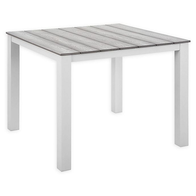 Alternate image 1 for Modway Maine 40-Inch Patio Dining Table in White/Light Grey