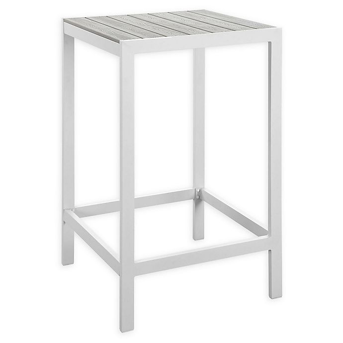 Alternate image 1 for Modway Maine Outdoor Patio Bar Table in White/Light Grey
