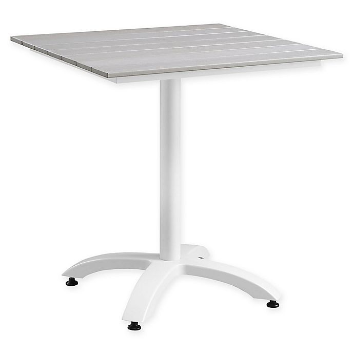 Alternate image 1 for Modway Maine 28-Inch Outdoor Patio Dining Table in White/Light Grey