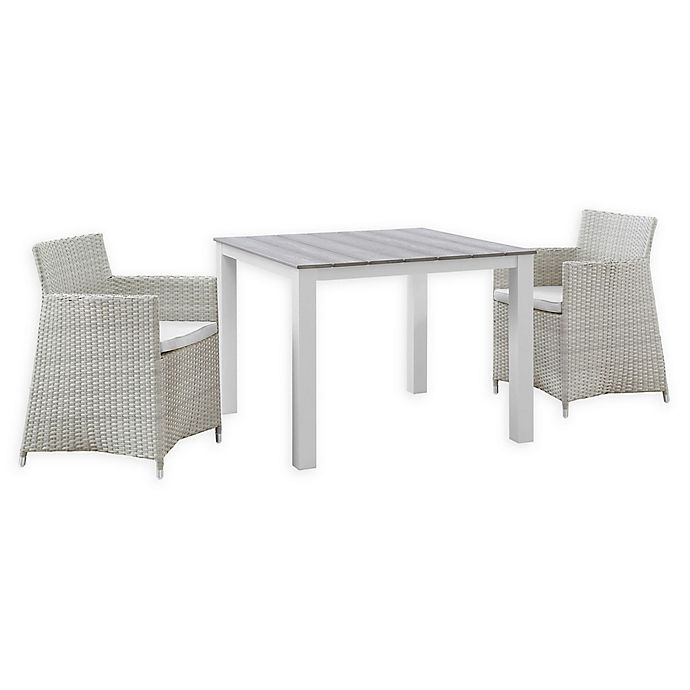 Alternate image 1 for Modway Junction 3-Piece Wicker Patio Dining Set in Grey/White