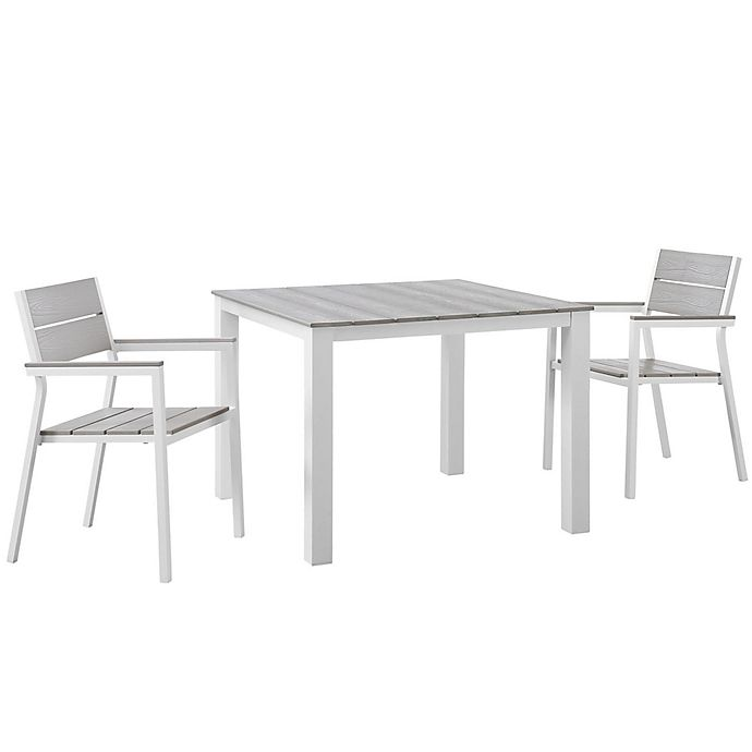 Alternate image 1 for Modway Maine 3-Piece Patio Dining Set in White/Light Grey