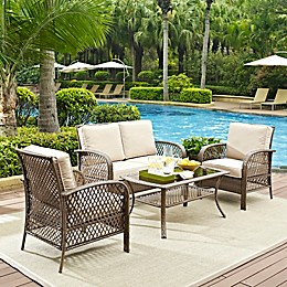 Crosley Tribeca Driftwood 4-Piece Resin Wicker Furniture Set with Cushions in Sand