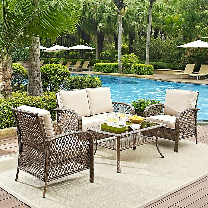 Alternate image 1 for Crosley Tribeca Driftwood 4-Piece Resin Wicker Furniture Set with Cushions in Sand