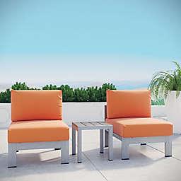 Modway 3-Piece Outdoor Patio Sofa Set in Silver/Orange