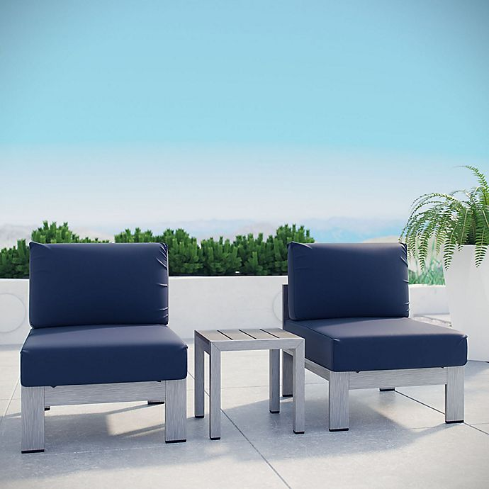 Alternate image 1 for Modway 3-Piece Outdoor Patio Sofa Set in Silver/Navy