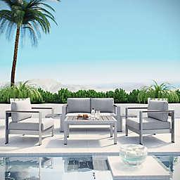 Modway Shore 6-Piece Outdoor Patio Sofa Set in Grey