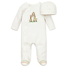 Little Me® Giraffe Preemie 2-Piece Footie and Hat Set in Ivory