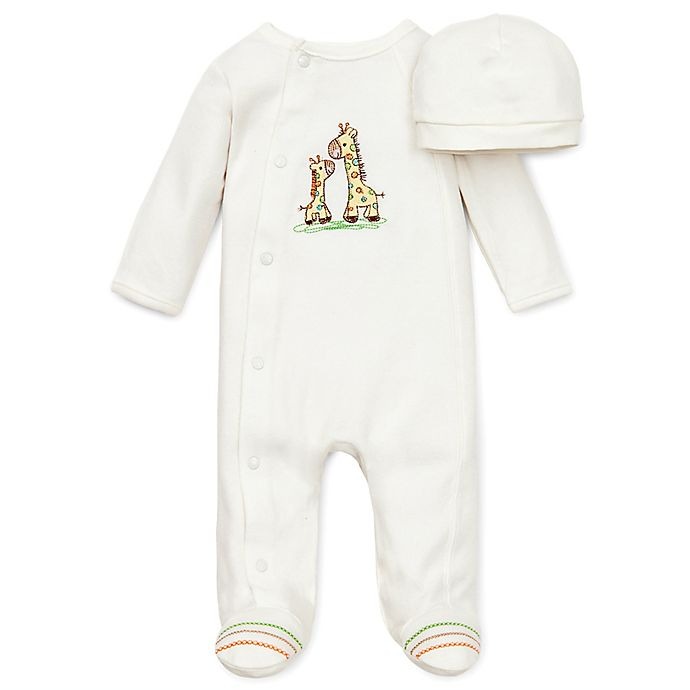 Alternate image 1 for Little Me® Giraffe Preemie 2-Piece Footie and Hat Set in Ivory
