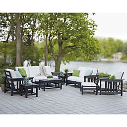 POLYWOOD® 8-Piece Mission Conversation Set in Black/White