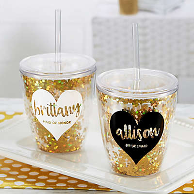 Glitter & Gold Bridal Party Stemless Cup