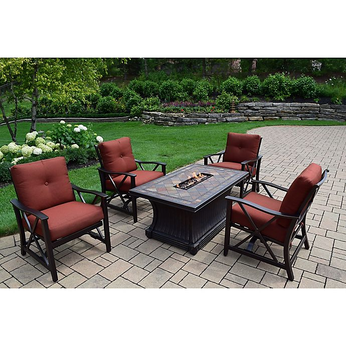 Alternate image 1 for Oakland Living Verona Gas Fire Pit Conversation Set with 4 Rocker Chairs