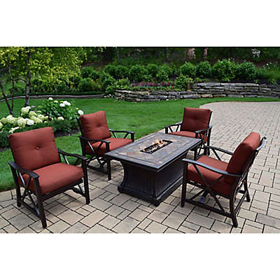 Oakland Living Verona Gas Fire Pit Conversation Set with Rocker Chairs
