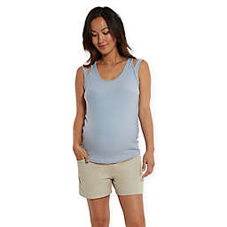 Stowaway Collection Double Strap Maternity and Nursing Tank Top in Sky Blue