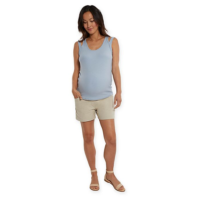 Alternate image 1 for Stowaway Collection Maternity Shorts in Tan