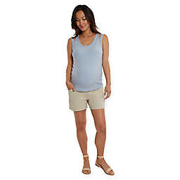 Stowaway Collection Maternity Shorts in Tan