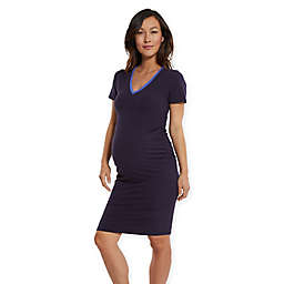 2305261c978 Stowaway Collection Knock Out V-Neck Maternity Dress in Navy Periwinkle