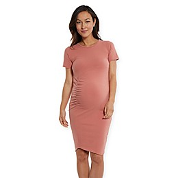 Stowaway Collection Uptown Maternity Dress in Salmon