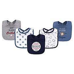 Hudson Baby® 5-Pack Baseball Drooler Bib Set in Blue