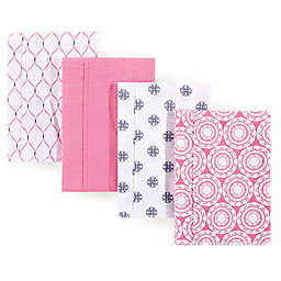 Hudson Baby 4-Pack Medallion Burp Cloth Set in Pink
