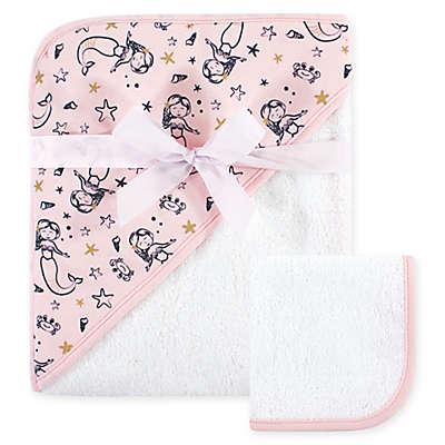 Hudson Baby® Mermaid Hooded Towel and Washcloth Set in White