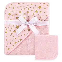 Hudson Baby® Star 2-Piece Hooded Towel and Washcloth Set in Pink