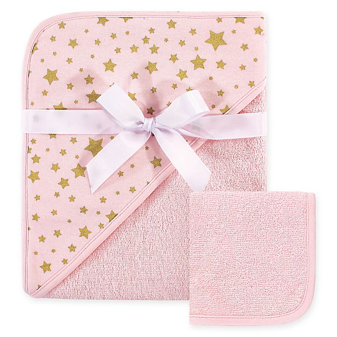 Alternate image 1 for Hudson Baby® Star 2-Piece Hooded Towel and Washcloth Set in Pink