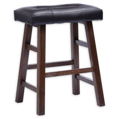 Faux Leather Padded Saddle Bar Stool In Walnut Bed Bath