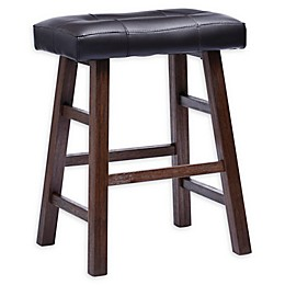 Padded Saddle Bar Stool in Walnut/Black