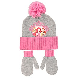 Rising Star™ Disney® Princess Hat & Mitten Set in Pink/Grey