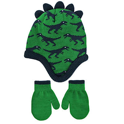 Rising Star™ Dinosaur Knit Hat & Mitten Set in Green/Black
