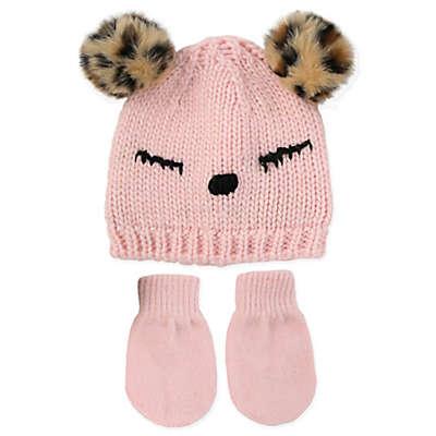Rising Star™ Newborn 3-Piece Sleepy Eye Hat and Mitten Set in Pink