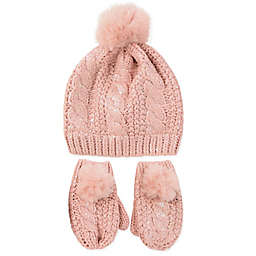 Rising Star™ 3-Piece Pom Hat and Mitten Set in Pink