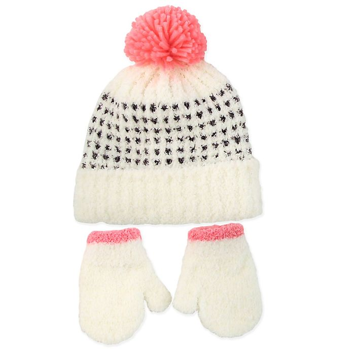 e2bd8cd4133 Rising Star™ 3-Piece Chenille Hat and Mitten Set in Pink White