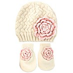 Rising Star™ Infant 3-Piece Flower Hat and Mitten Set in Pink/White