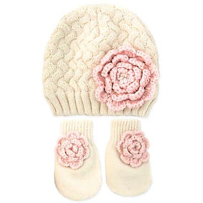 Rising Star™ 3-Piece Flower Hat and Mitten Set in Pink/White