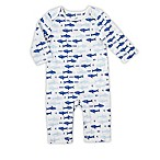 aden® by aden + anais® Size 3-6M Long-Sleeve Sharks Coverall in White